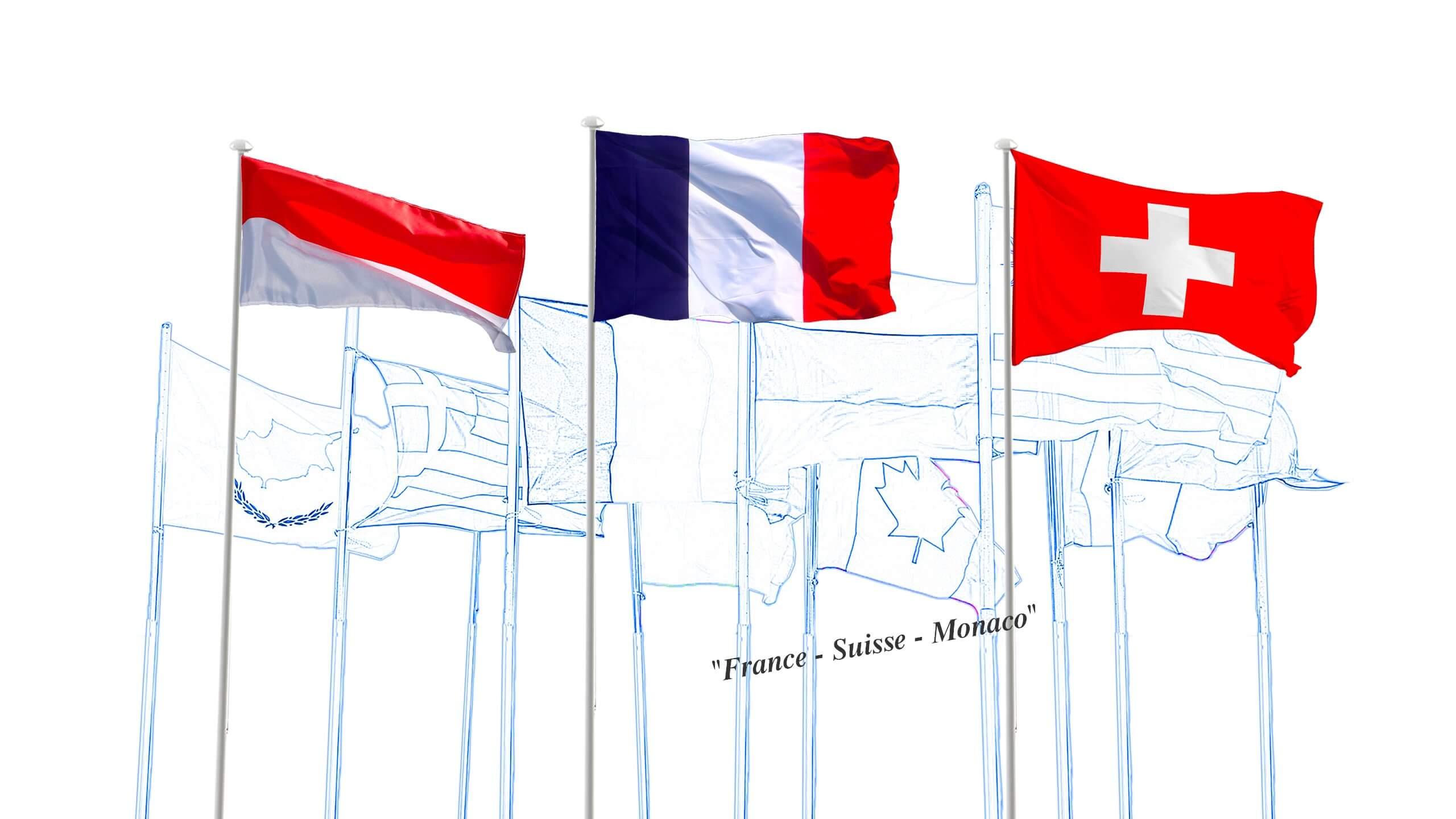 Les drapeaux des sites IM Projet : France Suisse Monaco