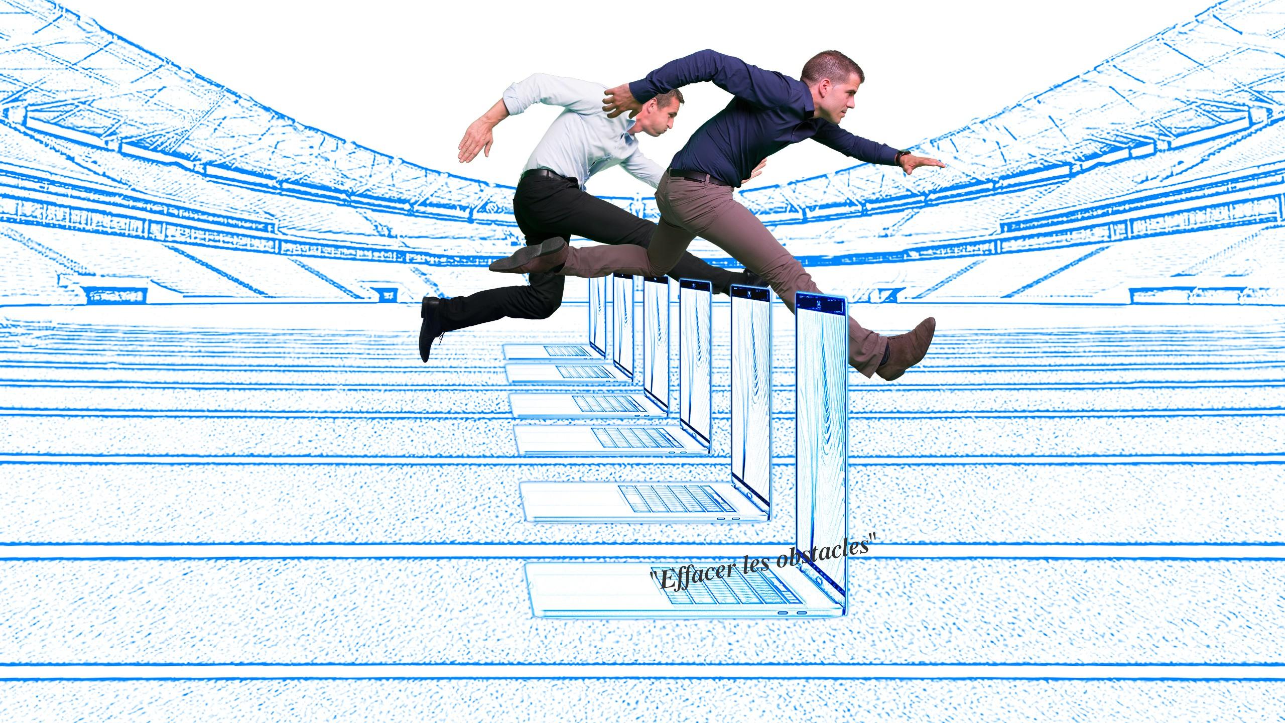 Ingénieurs gestion de projet effaçant les obstacles informatiques