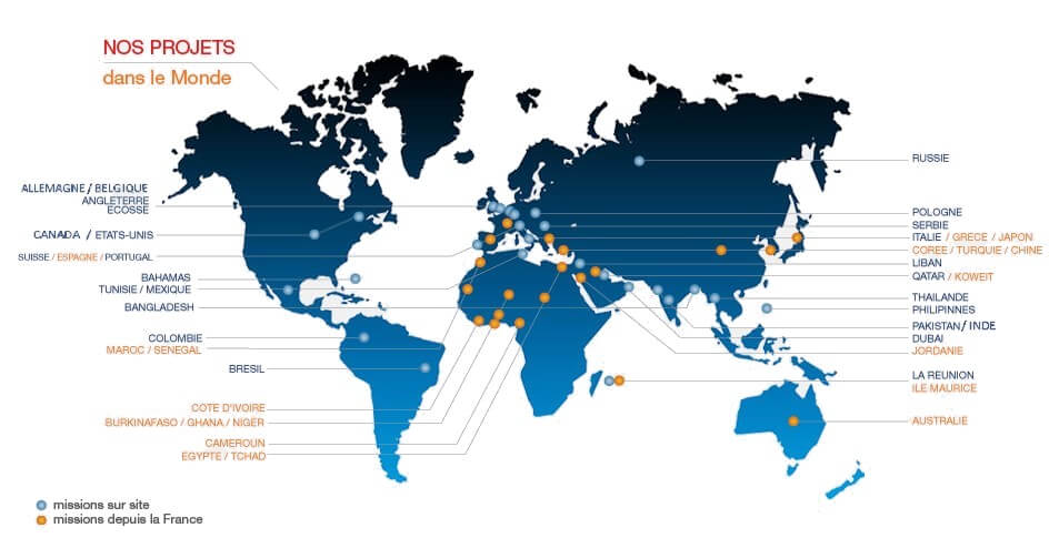 Carte du monde des missions réalisées par les ingénieurs d'IM Projet