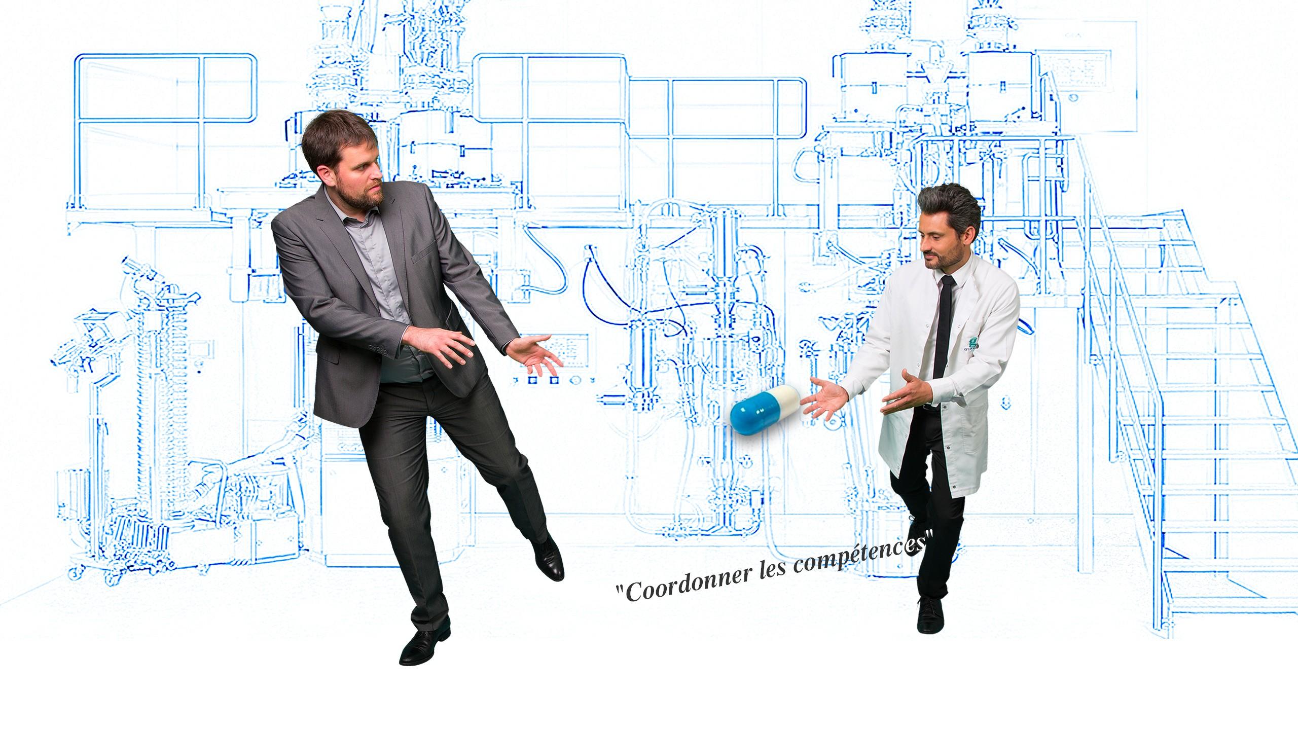 Ingénieurs de compétences diverses travaillent ensemble dans le domaine pharmaceutique