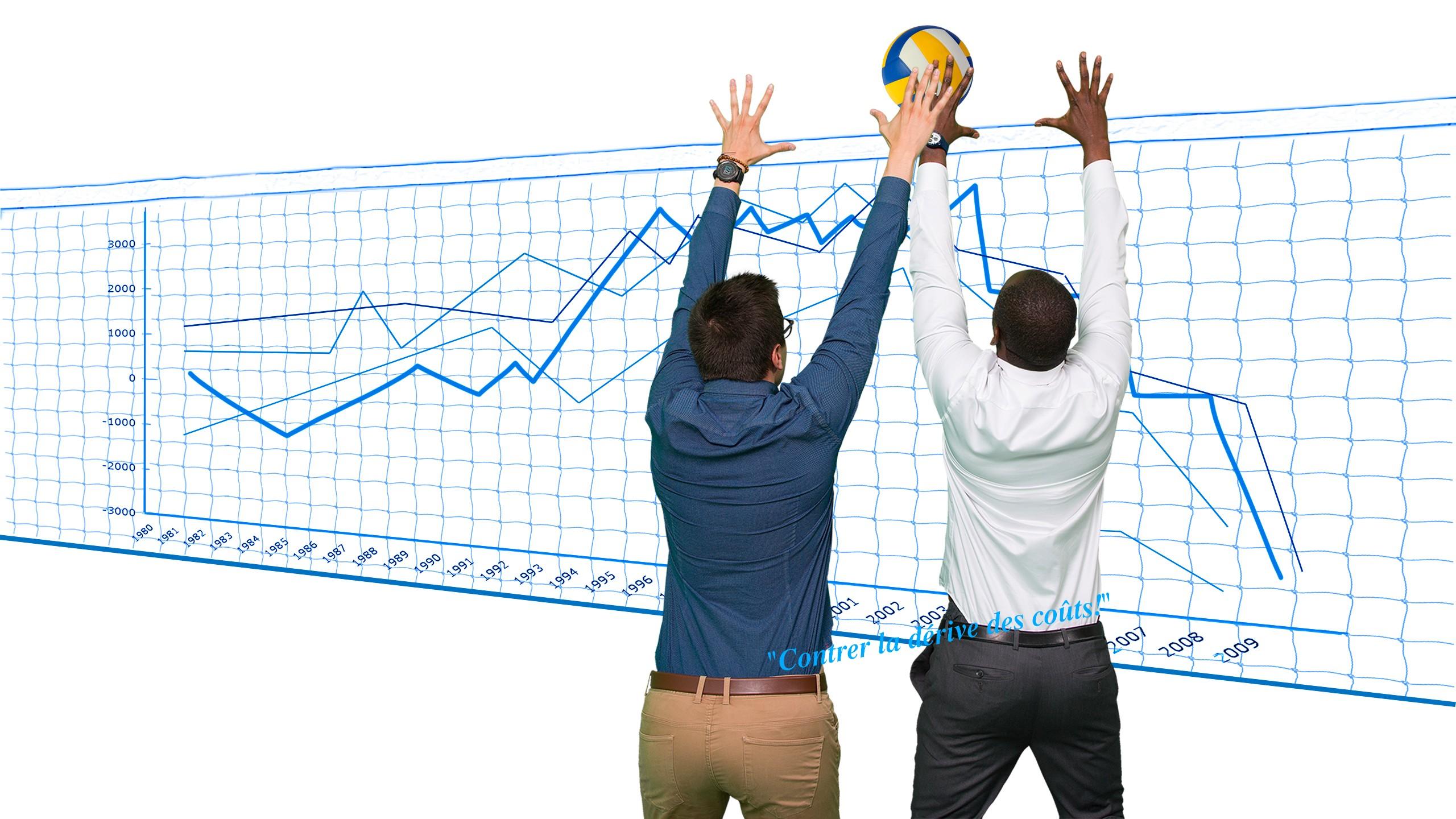 Ingénieurs gestion de projet contrant la dérive des coûts du projet